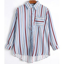 Button Up Striped Pocket Shirt