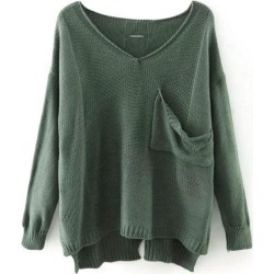 High Low V Neck Sweater
