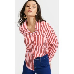 High Low Striped Pocket Shirt
