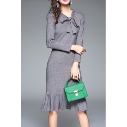 Bow Collar Long Sleeve Mermaid Sweater Work Dress found on MODAPINS from Zaful for USD $16.99
