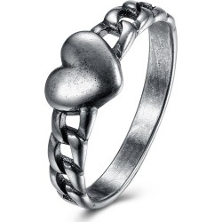Vintage Alloy Chain Heart Ring