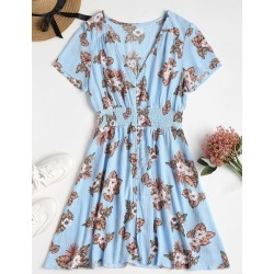 Button Through Printed Tea Dress found on MODAPINS from Zaful for USD $17.42