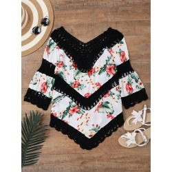 Floral Print Crochet Panel Beach Cover Up Top