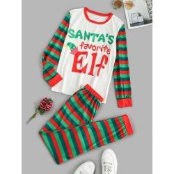 Graphic Stripes Christmas Pajama Set