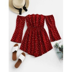 ZAFUL Hearts Print Off Shoulder Flare Sleeve Romper