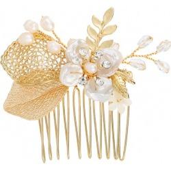Faux Pearl Flower Leaf Wedding Hair Comb