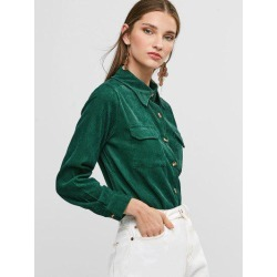 Buttoned Corduroy High Low Shirt with Pockets