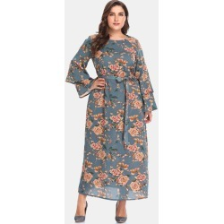 3220dc47ceb Floral Bell Sleeve Plus Size Maxi Dress found on MODAPINS from Zaful for  USD  25.99