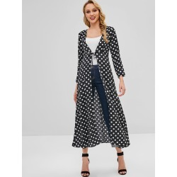 Knotted Polka Dot Duster Coat found on MODAPINS from Zaful for USD $19.99