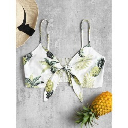 Tie Front Pineapple Bandeau Top found on MODAPINS from Zaful for USD $11.35