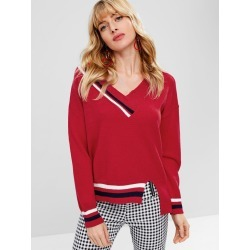 Striped Slit V Neck Sweater found on MODAPINS from Zaful for USD $22.88