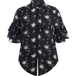 Flower Flare Sleeve Plus Size Blouse