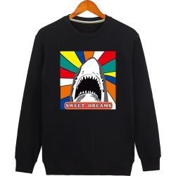 Shark Cartoon Print Crew Neck Sweatshirt