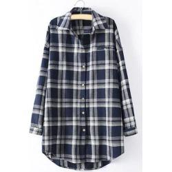 Long Sleeve Checked Long Shirt