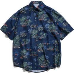 Beach Palm Scenery Print Drop Shoulder Beach Shirt