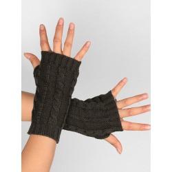 Embellished Knitted Exposed Finger Gloves