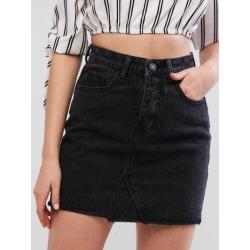 Raw Hem Fitted Mini Denim Skirt