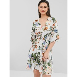 Floral Button Through Tea Dress found on MODAPINS from Zaful for USD $15.62