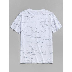 Ink Letter Print Short Sleeve Crew Neck T-shirt found on MODAPINS from Zaful for USD $13.15