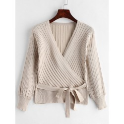Ribbed Surplice Knit Top