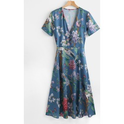 Low Cut Flower Print A Line Dress found on MODAPINS from Zaful for USD $19.29