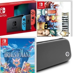 Nintendo Switch Console Mario Red & Blue + Naruto: Ultimate Ninja Storm Trilogy (Code In Box) (Nintendo Switch) + Trials of Mana + Nintendo Switch Stealth Case - Black