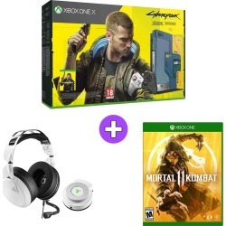 Microsoft Xbox One X 1TB - Cyberpunk 2077 Edition with Turtle Beach Elite Pro 2 Headset and Mortal Kombat