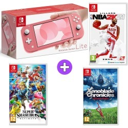 Nintendo Switch Lite Console - Coral with NBA 2K21, Super Mario Bros Ultimate and Xenoblade Chronicles Definitive Edition