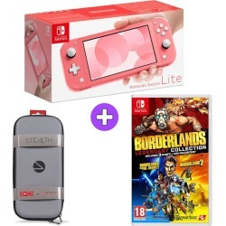 Nintendo Switch Lite Console - Coral with Stealth EVA Carry Case and Borderlands Legendary Collection