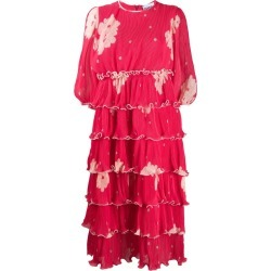 Pleated Floral Print Tiered Dress