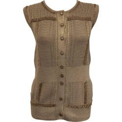 Chanel Gold Tone Knitted Cotton Blend Chain Vest Or Top