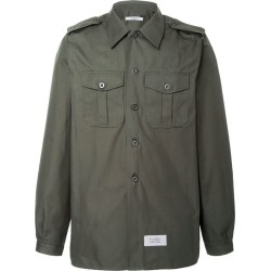 Green Men's Cotton And Linen Military Shirt