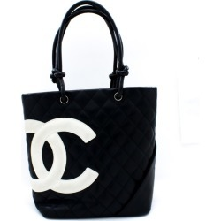 Cambon Tote Small Shoulder Bag Black White Quilted Calfskin