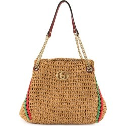 Neutral Women's Gg Marmont Raffia Bag