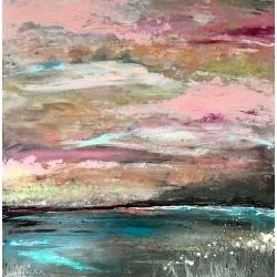Pink Sky Dreaming Original, Mixed Media, Personally Signed Acrylic Paint Signed