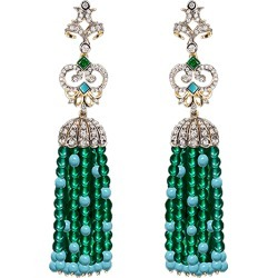 Emerald Turquoise Tassel Earrings found on Bargain Bro India from The List for $2620.00
