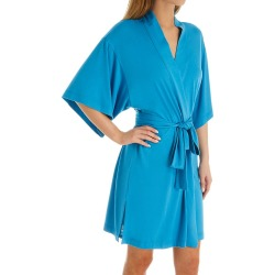 Natori D74023 Shangri-la Short Wrap Robe (Mediterranean Blue L) found on Bargain Bro from herroom.com for USD $71.44