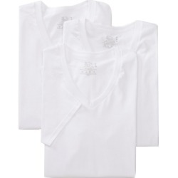 Fruit Of The Loom 2626V 100% Cotton Stay Tucked V-Neck T-Shirts - 3 Pack (White S)