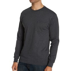 Hanes 5596 100% Cotton Long Sleeve Pocket T-Shirt (Charcoal Heather XL) found on Bargain Bro Philippines from hisroom.com for $13.30