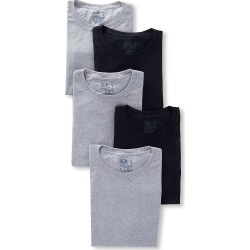 Fruit Of The Loom 5P2801 Stay Tucked Cotton Crew T-Shirts - 5 Pack (Black/Grey S)