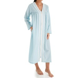 KayAnna R03600 Seersucker Zip Front Lounge Robe (Aqua 2X) found on Bargain Bro India from herroom.com for $66.00