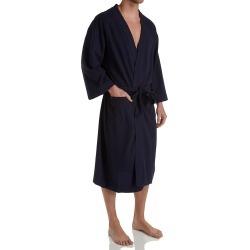 Hanes 5071 Solid Waffle Knit Spa Robe (Bright Navy O/S)