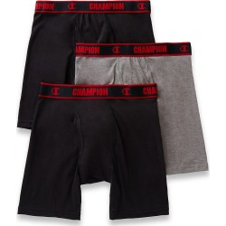 Champion CHCL Cotton Performance Long Boxer Briefs - 3 Pack (Black/Charcoal Heather XL) found on Bargain Bro India from hisroom.com for $24.98