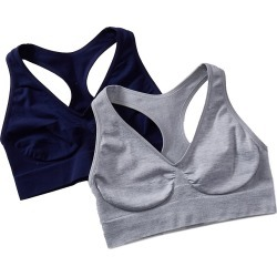 Hanes HUT1 Ultimate Comfy Support Racerback Bra - 2 Pack (silver shadow/navy S) found on Bargain Bro India from herroom.com for $21.00
