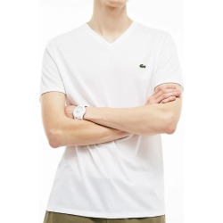 Lacoste TH6710 Pima Short Sleeve V-Neck T-Shirt (White M) found on MODAPINS from hisroom.com for USD $49.50