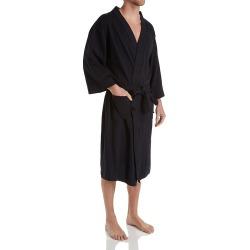 Hanes 5071T Tall Man Solid Waffle Knit Spa Robe (Black 8XLT/9XLT)