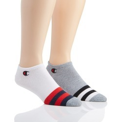 Champion CH177 Men's Performance Super No Show Socks - 2 Pack (White/Grey/Red O/S)
