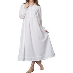 Thea 7085 Rosalie Long Sleeve Nightgown (White L) found on Bargain Bro India from herroom.com for $85.00