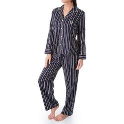 Lauren Ralph Lauren Sleepwear LN91733 Logo Stripe Woven Long Sleeve Notch Collar PJ Set Navy L