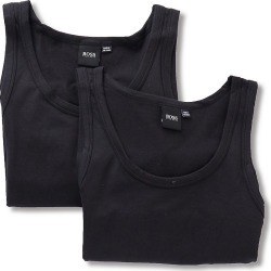 Boss Hugo Boss 0325406 Essential Cotton Stretch Slim Tank Top - 2 Pack (Black L) found on MODAPINS from hisroom.com for USD $45.00
